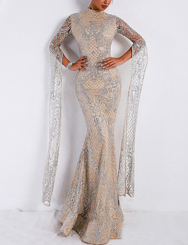 1a2a8f0145d Mermaid   Trumpet High Neck Floor Length Lace   Tulle   Sequined ...