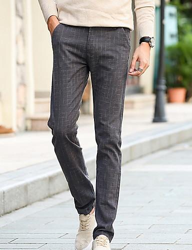 สำหรับผู้ชาย พื้นฐาน เพรียวบาง กางเกง Chinos กางเกง - สีพื้น สีน้ำเงินกรมท่า สีเทา สีกากี 33 34 36