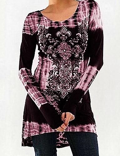 billige Dametopper-Tynn Store størrelser T-skjorte Dame - Geometrisk Svart