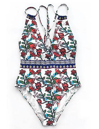 สำหรับผู้หญิง ขาว ชิ้นหนึ่ง ชุดว่ายน้ำ - ลายดอกไม้ M L XL ขาว
