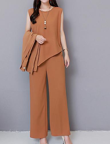 billige Dametopper-Dame Grunnleggende Store størrelser Sett Bukse Ensfarget