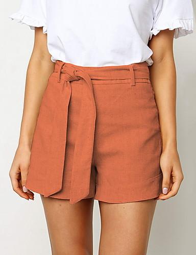 preiswerte Hosen & Röcke für Damen-Damen Grundlegend Schlank Kurze Hosen Hose - Solide Weiß Orange Gelb M L XL