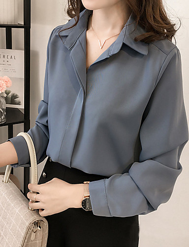 สำหรับผู้หญิง ขนาดพิเศษ เสื้อสตรี คอเสื้อเชิ้ต สีพื้น สีน้ำเงิน