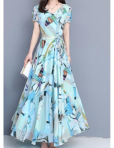 voordelige Maxi-jurken-Dames A-lijn Jurk V-hals Maxi