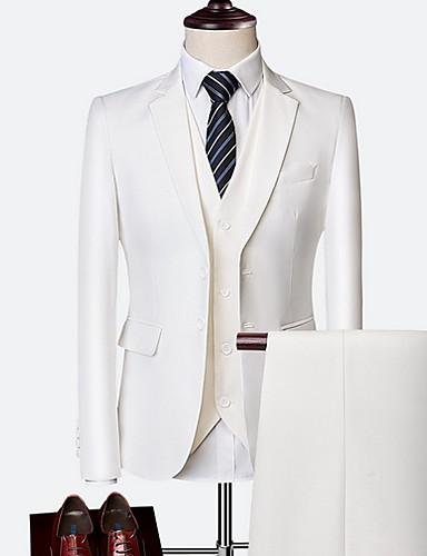 levne Pánské blejzry a saka-Pánské Obleky, Jednobarevné Klasické klopy Polyester Černá / Fialová / Světle modrá / Štíhlý
