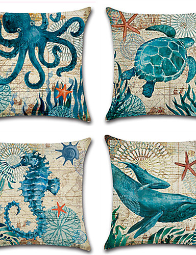 cheap Home & Garden-Cushion Cover 1PC Linen Soft Decorative Square Throw Pillow Cover Cushion Case Pillowcase for Sofa Bedroom 45 x 45 cm (18 x 18 Inch) Superior Quality Mashine Washable Pack of 1