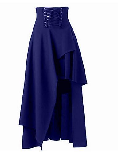 preiswerte Ein Retro - Rock-Damen Gothic Style Street Schick Asymmetrisch Schaukel Röcke - Solide Wein Khaki Königsblau L XL XXL