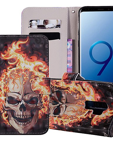 Case สำหรับ Samsung Galaxy S9 / S9 Plus / S8 Plus Wallet / Card Holder / with Stand ตัวกระเป๋าเต็ม กระโหลก Hard หนัง PU