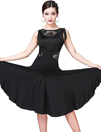 preiswerte Tanzkleider & Tanzschuhe-Latein-Tanz Austattungen Damen Training / Leistung Spitze / Milchfieber Spitze / Quaste Ärmellos Kleid / Unterhose