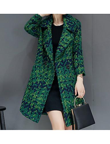 levne Dámské blejzry a bundy-Dámské Blejzr Klasické klopy Polyester Trávová zelená / Černá / Štíhlý