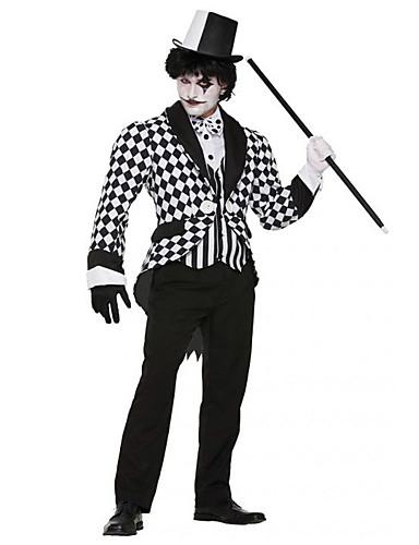 preiswerte Herrenbekleidung-Zauberer Cosplay Kostüme Maskerade Erwachsene Männlich Austattungen Halloween Halloween Karneval Maskerade Fest / Feiertage Terylen Purpur Männlich Karneval Kostüme Kariert / Gingham