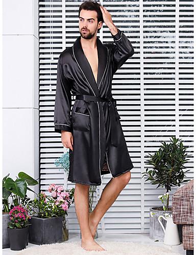 levne Pánské prádlo a plavky-Pánské Patchwork Větší velikosti Sexy Satén a hedvábí Noční prádlo Jednobarevné Černá XXXL XXXXL XXXXXL / Do V / Podzim