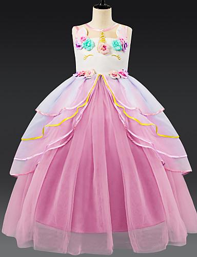 preiswerte Unicorn Dresses-Kinder Mädchen Aktiv Süß Unicorn Patchwork Mehrlagig Ärmellos Knielang Kleid Rosa