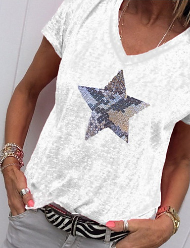 billige Dametopper-V-hals T-skjorte Dame - Geometrisk, Trykt mønster Grønn