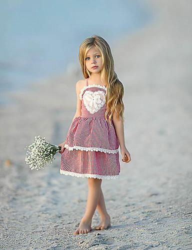 Toddler เด็กผู้หญิง หวาน Street Chic ลายสก็อต ลูกไม้ เปิดหลัง เสื้อไม่มีแขน เหนือเข่า กระโปรงชุด ทับทิม / ฝ้าย