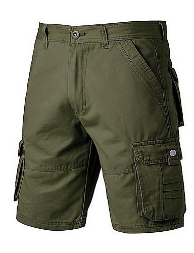 สำหรับผู้ชาย Sporty หลวม กางเกงขาสั้น กางเกง - สีพื้น กีฬา สีน้ำเงินกรมท่า อาร์มี่ กรีน สีกากี 34 36 38