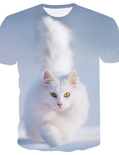 voordelige Herenmode-Heren Print T-shirt 3D / dier Ronde hals Licht Blauw