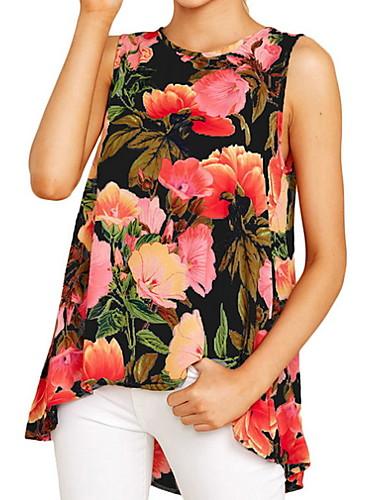 billige T-skjorter til damer-T-skjorte Dame - Blomstret, Blomster / Trykt mønster Blå / Vår / Sommer / Høst