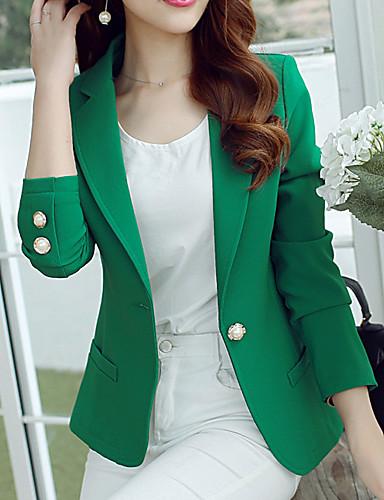 cheap Women's Blazers & Jackets-Women's Blazer, Solid Colored Notch Lapel Polyester / Spandex Green / Black / Yellow