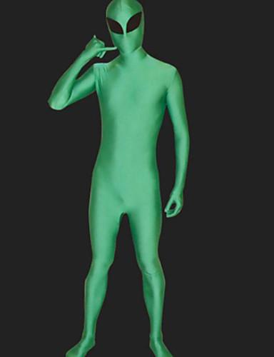billige Zentai-Zentai Drakter heldekkende drakter Alien Costume Ninja Voksne Cosplay-kostymer Cosplay Halloween Herre Dame Grønn Ensfarget Halloween Karneval / Høy Elastisitet