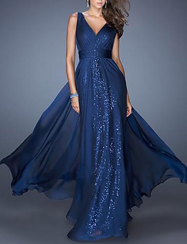 preiswerte Partykleider >Reduziert auf $9,99-Eng anliegend V-Ausschnitt Boden-Länge Chiffon Kleid mit Paillette durch LAN TING Express