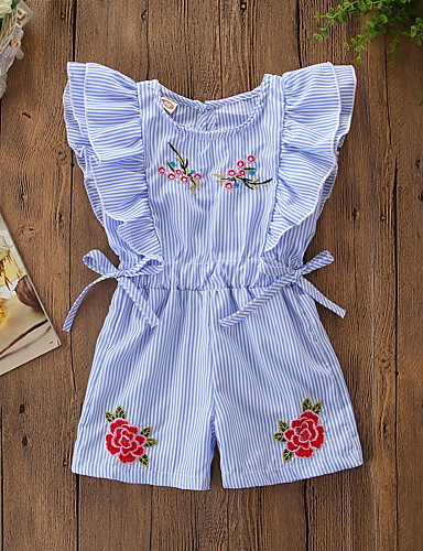 Baby Girls' Active / Basic Striped / Floral Bow / Ruffle / Floral Style Sleeveless Cotton Romper Light Blue / Toddler