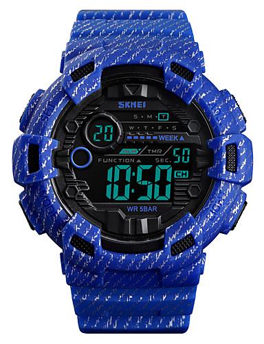 SKMEI สำหรับผู้ชาย นาฬิกาทหาร ดิจิตอล ยางทำจากซิลิคอน ฟ้า / เขียว / เทา 50 m Military นาฬิกาปลุก โครโนกราฟ ดิจิตอล ภายนอก แฟชั่น - สีฟ้า สีกากี เขียวเข้ม หนึ่งปี อายุการใช้งานแบตเตอรี่