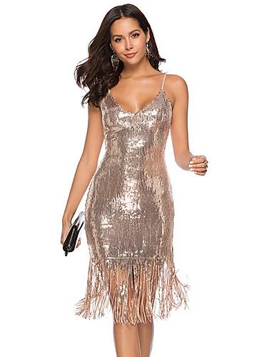 preiswerte Speziell an Halloween-Damen Grundlegend Bodycon Hülle Kleid - Rückenfrei Quaste, Solide Knielang