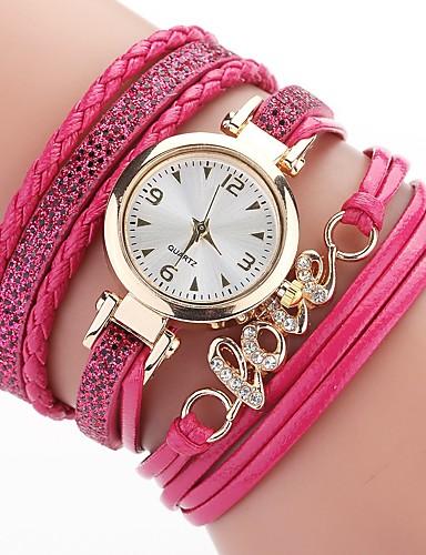สำหรับผู้หญิง นาฬิกาสร้อยข้อมือ นาฬิกาอิเล็กทรอนิกส์ (Quartz) สไตล์ Cubic Zirconia PU Leather ดำ / สีขาว / ฟ้า นาฬิกาใส่ลำลอง เลียนแบบเพชร ระบบอนาล็อก โบฮีเมียน แฟชั่น - ทับทิม น้ำเงินท้องฟ้า สีเทา