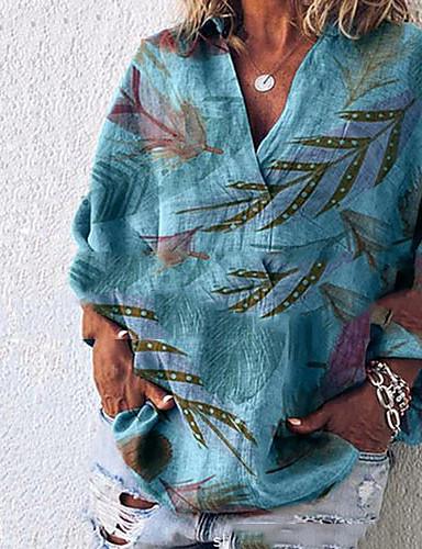 billige Dametopper-Tynn V-hals Store størrelser Skjorte Dame - Geometrisk, Blomster Lysegrønn / Vår / Sommer / Høst