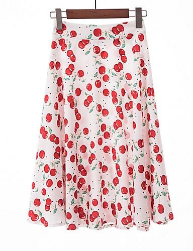 preiswerte Ein Retro - Rock-Damen A-Linie Röcke - Blumen Weiß Schwarz Rote L XL XXL