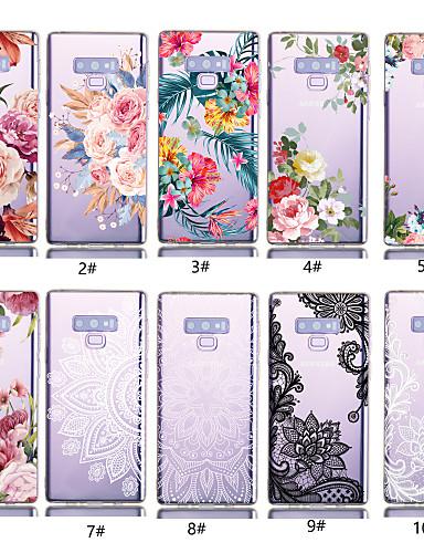 Case สำหรับ Samsung Galaxy Note 9 Transparent / Pattern ปกหลัง ดอกไม้ Soft TPU