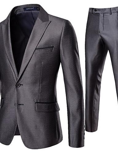 levne Pánské blejzry a saka-Pánské Obleky, Jednobarevné Klasické klopy Polyester Šedá