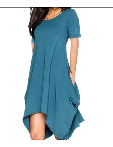 preiswerte Blaue Kleider-Damen Übergrössen Grundlegend Hülle Kleid Solide Asymmetrisch