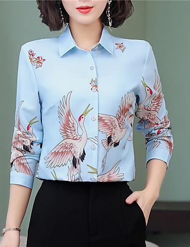 billige Dametopper-Tynn Skjortekrage Skjorte Dame - Dyr, Trykt mønster Blå
