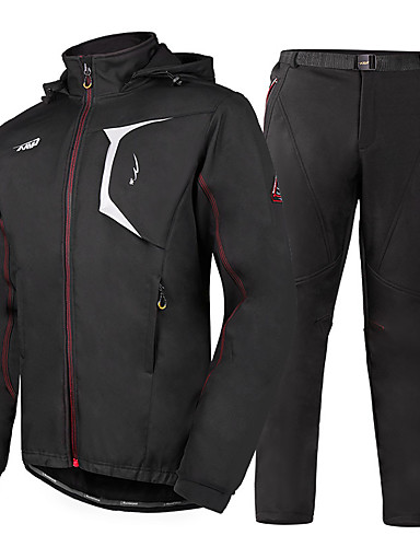 cheap Cycling-Mountainpeak Men's Long Sleeve Cycling Jacket with Pants Winter Fleece Black Solid Colored Bike Fleece Lining Breathable Sports Solid Colored Mountain Bike MTB Road Bike Cycling Clothing Apparel