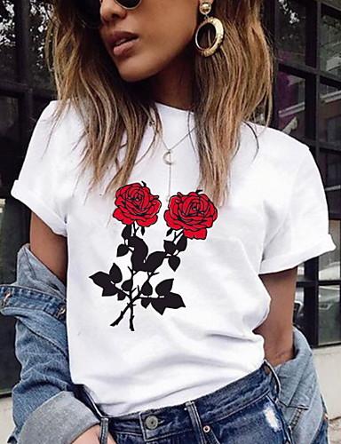 billige T-skjorter til damer-T-skjorte Dame - Blomstret Hvit