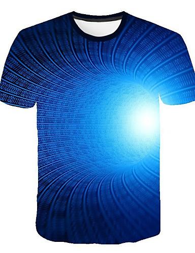 preiswerte Herren T-Shirts mit 3D-Druck-Herrn 3D T-shirt, Rundhalsausschnitt Druck Königsblau / Kurzarm