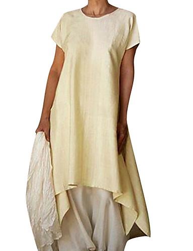 levne Maxi šaty-Dámské Základní Pouzdro Šaty - Jednobarevné Asymetrické