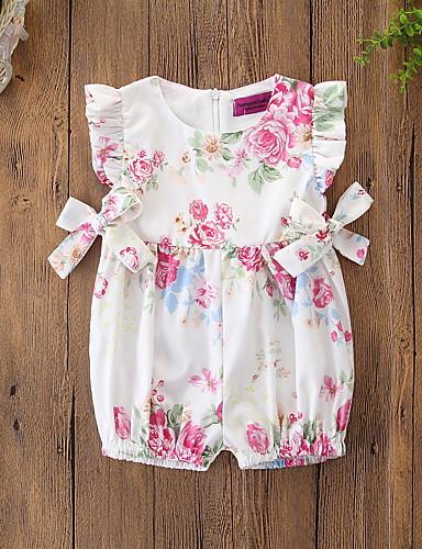 ทารก เด็กผู้หญิง ซึ่งทำงานอยู่ / พื้นฐาน ลายดอกไม้ โบว์ / รูปแบบลายดอกไม้ / Printing เสื้อไม่มีแขน ฝ้าย หนึ่งชิ้น ขาว / Toddler