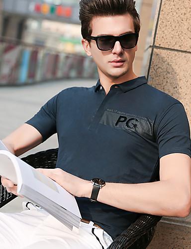 สำหรับผู้ชาย Polo ลายพิมพ์ คอเสื้อเชิ้ต สีพื้น สีดำ