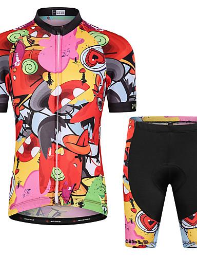 povoljno Biciklizam-Malciklo Dječaci Djevojčice Kratkih rukava Biciklistička majica s kratkim hlačama - Dječji Red / Yellow Cvjetni / Botanički Bicikl Sportska odijela UV otporan Prozračnost Ovlaživanje Quick dry