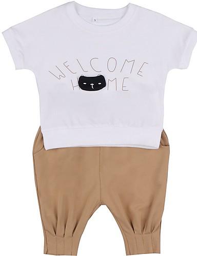 ทารก เด็กผู้หญิง พื้นฐาน ลายพิมพ์ แขนสั้น ปกติ ฝ้าย ชุดเสื้อผ้า สีเทา / Toddler
