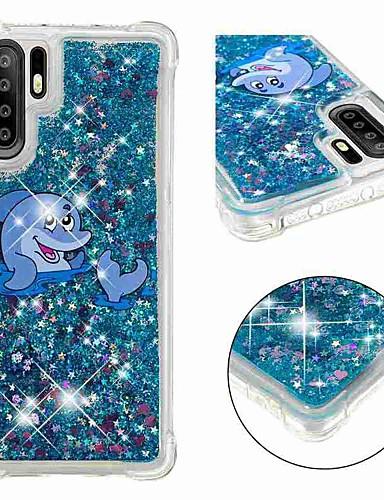 Case สำหรับ Huawei Huawei P20 / Huawei P20 Pro / Huawei P20 lite Shockproof / Flowing Liquid / Transparent ปกหลัง สัตว์ / Glitter Shine Soft TPU