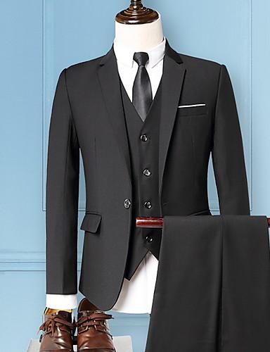 สำหรับผู้ชาย ชุด ปกคอแบะของเสื้อแบบน็อตช์ เส้นใยสังเคราะห์ สีน้ำเงินกรมท่า / ไวน์ / เทาอ่อน / เพรียวบาง