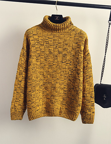 สำหรับผู้หญิง สีพื้น แขนยาว ผ้าคลุมหลัง, คอเต่า ฤดูใบไม้ผลิ / ตก สีเหลือง ขนาดเดียว