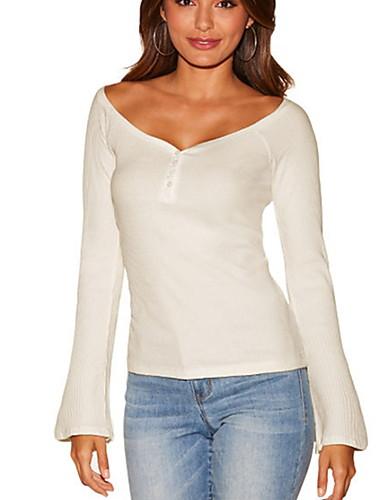 สำหรับผู้หญิง เสื้อเชิร์ต คอวี เพรียวบาง สีพื้น ขาว