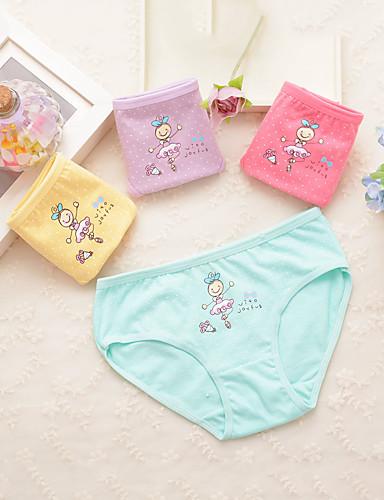 4 ชิ้น เด็ก Toddler เด็กผู้หญิง ซึ่งทำงานอยู่ พื้นฐาน สีพื้น ลายพิมพ์ ฝ้าย กางเกงในและถุงเท้า สายรุ้ง