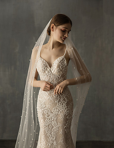 cheap Wedding Veils-One-tier Elegant & Luxurious Wedding Veil Cathedral Veils with Faux Pearl Tulle / Angel cut / Waterfall