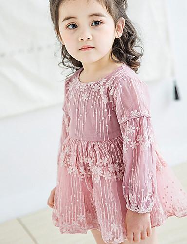 ทารก เด็กผู้หญิง พื้นฐาน สีพื้น แขนยาว กระโปรงชุด ขาว / Toddler